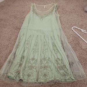 Mint beaded shift dress